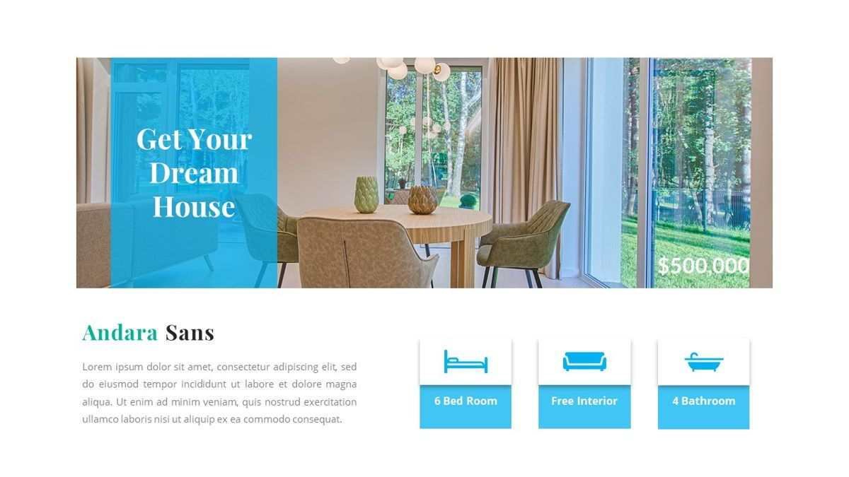 Andara - Real Estate Powerpoint Template, Slide 8, 05888, Text Boxes — PoweredTemplate.com