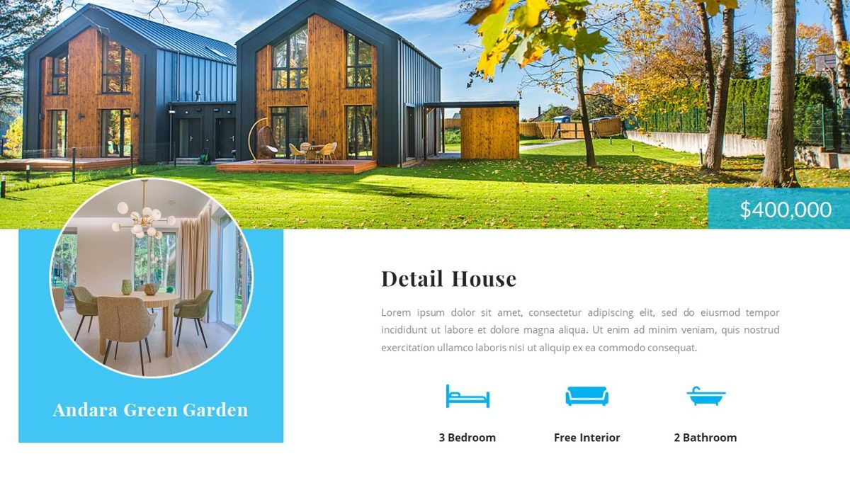 Andara - Real Estate Powerpoint Template, Slide 9, 05888, Text Boxes — PoweredTemplate.com
