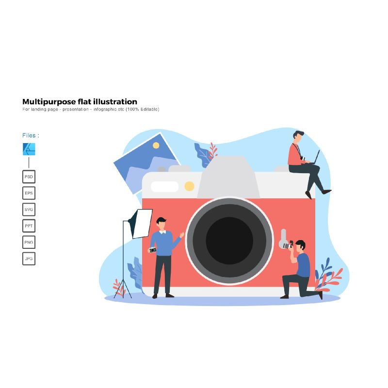 Multipurpose modern flat illustration design photographer, 05889, Presentation Templates — PoweredTemplate.com