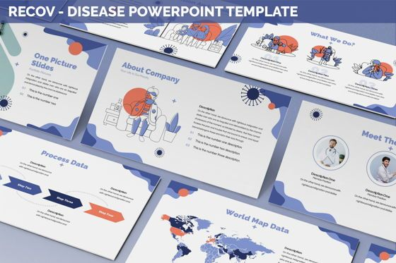 Data Driven Diagrams and Charts: Recov - Disease Powerpoint Template #05893
