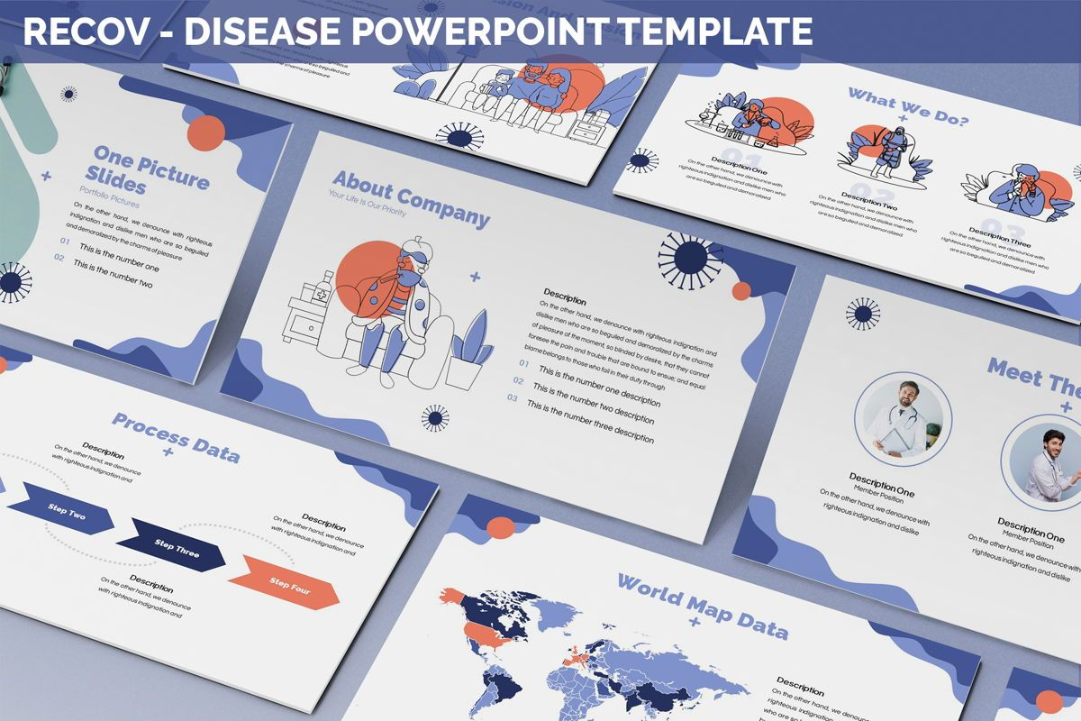 Recov - Disease Powerpoint Template, 05893, Data Driven Diagrams and Charts — PoweredTemplate.com