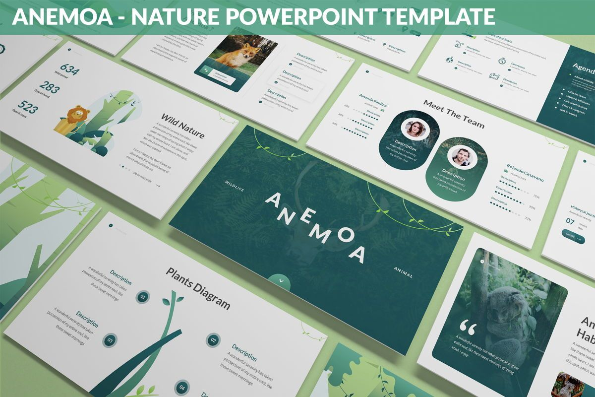 Anemoa - Nature Powerpoint Template, 05894, Icons — PoweredTemplate.com
