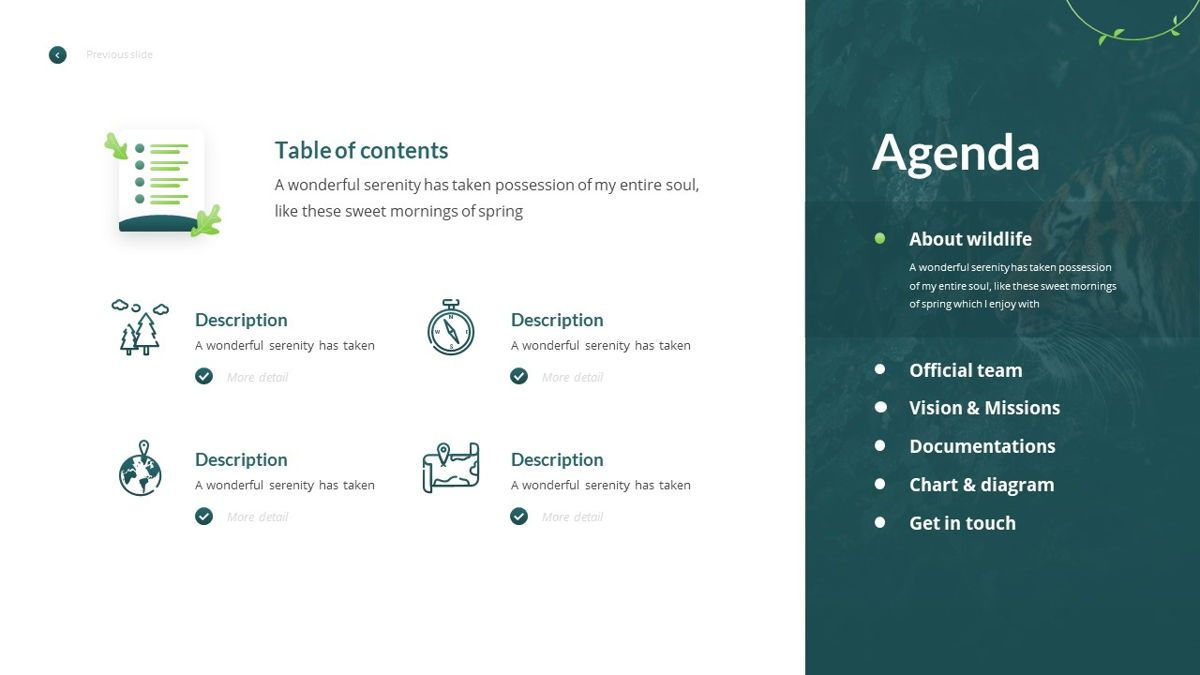 Anemoa - Nature Powerpoint Template, Slide 4, 05894, Icons — PoweredTemplate.com