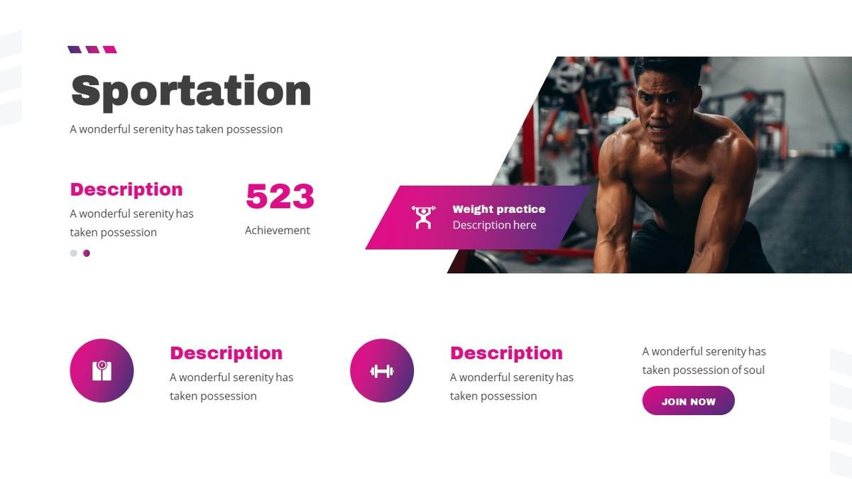 Stamin - Gym Fitness Powerpoint Template, Slide 19, 05896, Graph Charts — PoweredTemplate.com