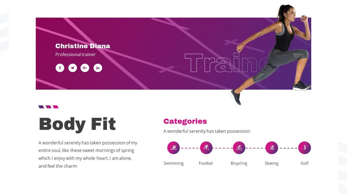 Stamin - Gym Fitness Powerpoint Template, Slide 8, 05896, Graph Charts — PoweredTemplate.com