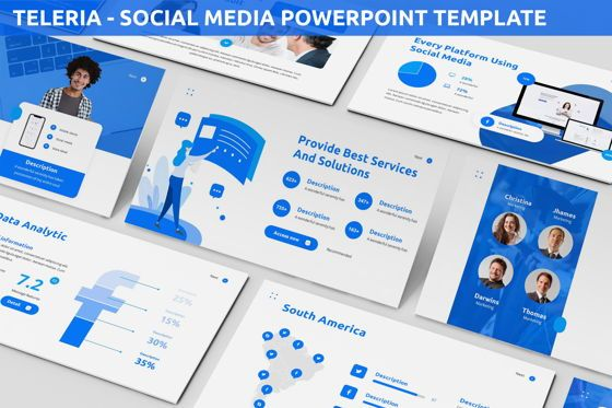 Data Driven Diagrams and Charts: Teleria - Social Media Powerpoint Template #05898