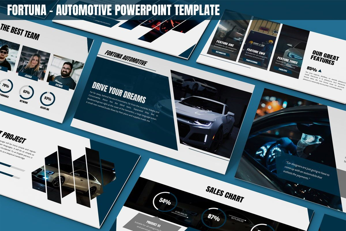 Fortuna - Automotive Powerpoint Template, 05899, Data Driven Diagrams and Charts — PoweredTemplate.com