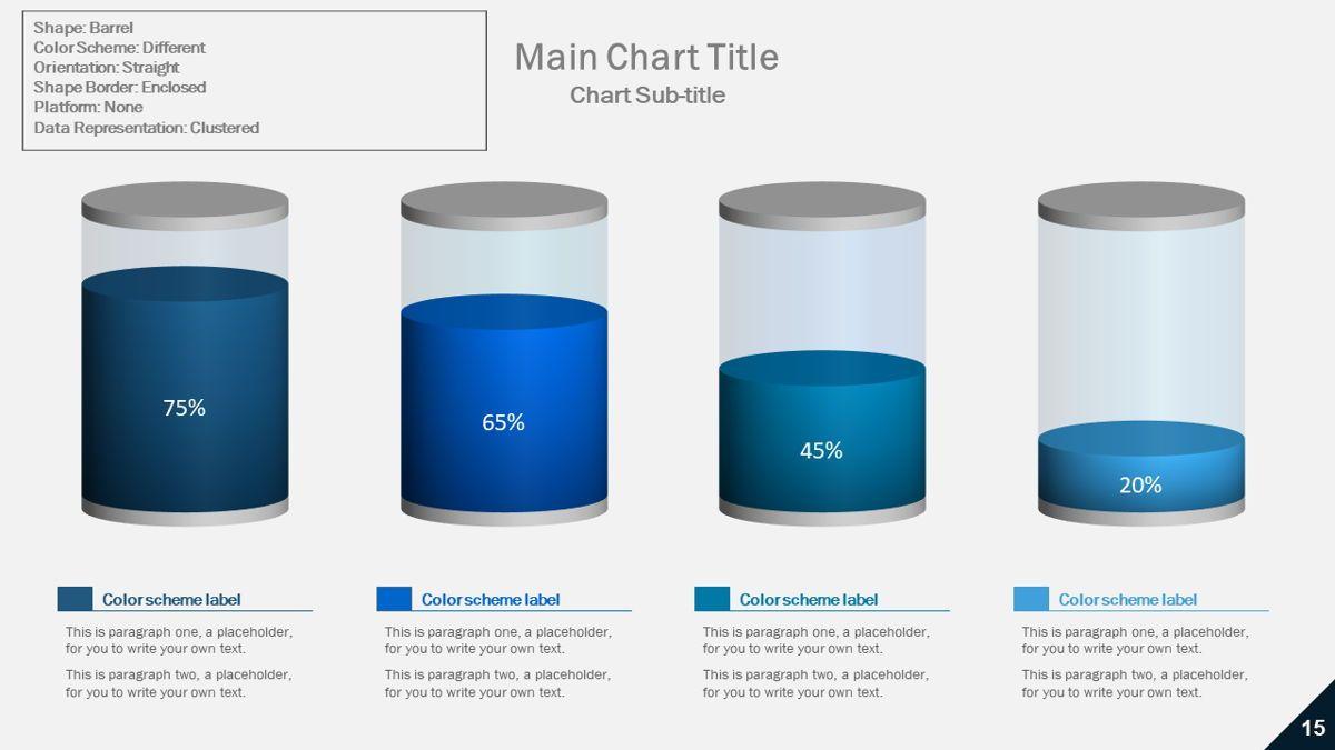 Data-driven column charts – Barrel style, 05901, Data Driven Diagrams and Charts — PoweredTemplate.com