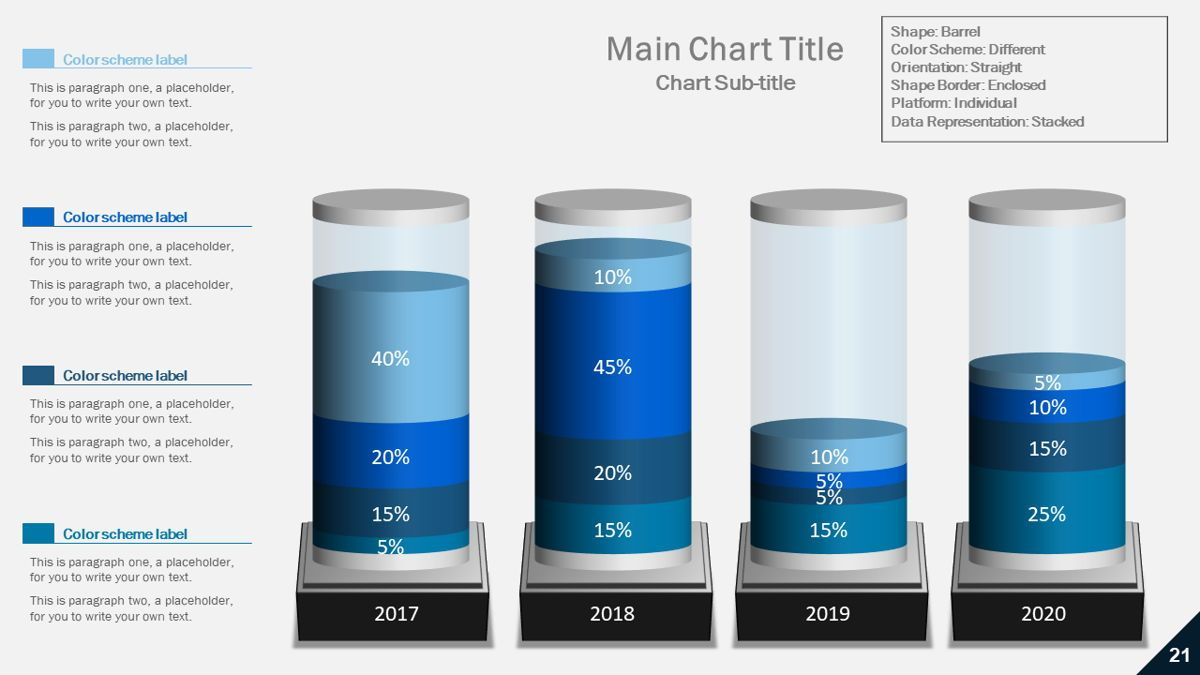 Data-driven column charts – Barrel style, Slide 2, 05901, Data Driven Diagrams and Charts — PoweredTemplate.com