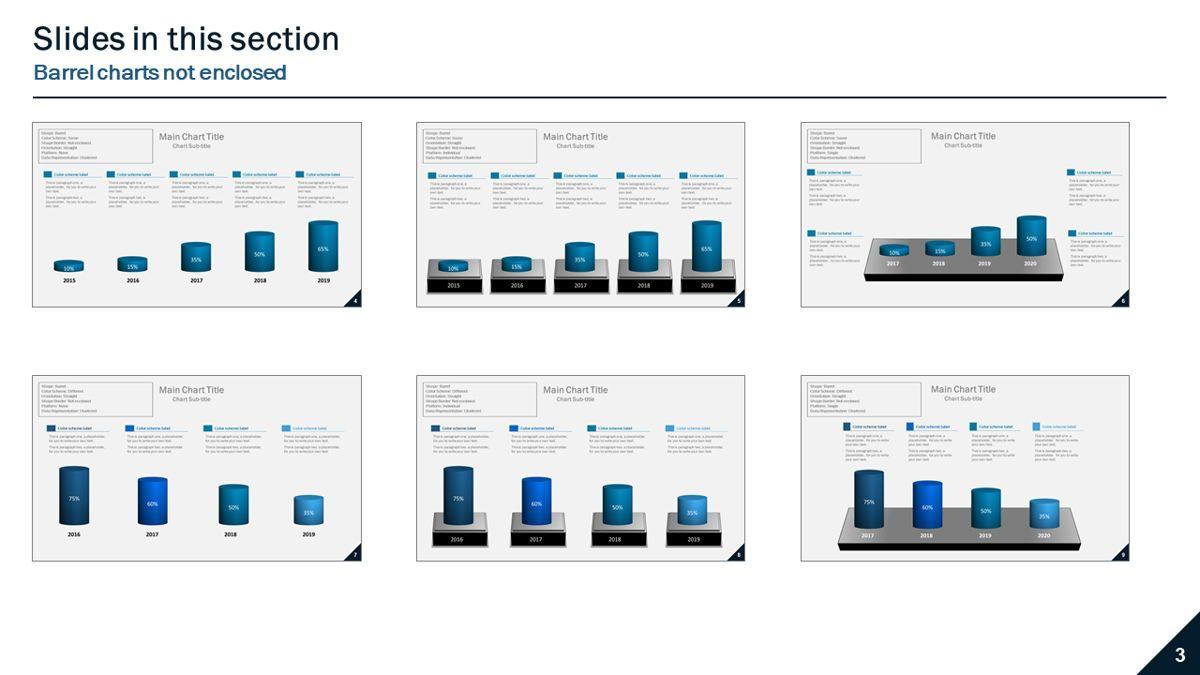 Data-driven column charts – Barrel style, Slide 3, 05901, Data Driven Diagrams and Charts — PoweredTemplate.com