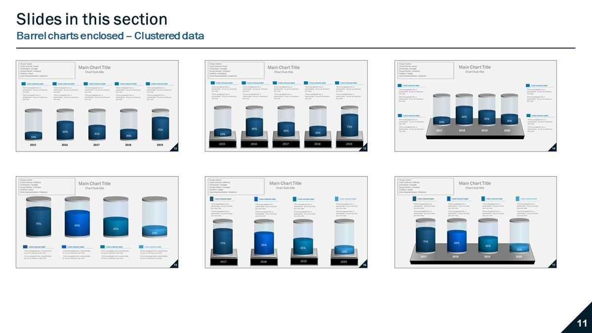 Data-driven column charts – Barrel style, Slide 4, 05901, Data Driven Diagrams and Charts — PoweredTemplate.com