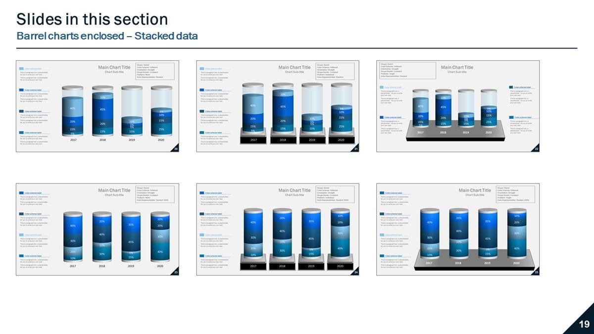 Data-driven column charts – Barrel style, Slide 5, 05901, Data Driven Diagrams and Charts — PoweredTemplate.com