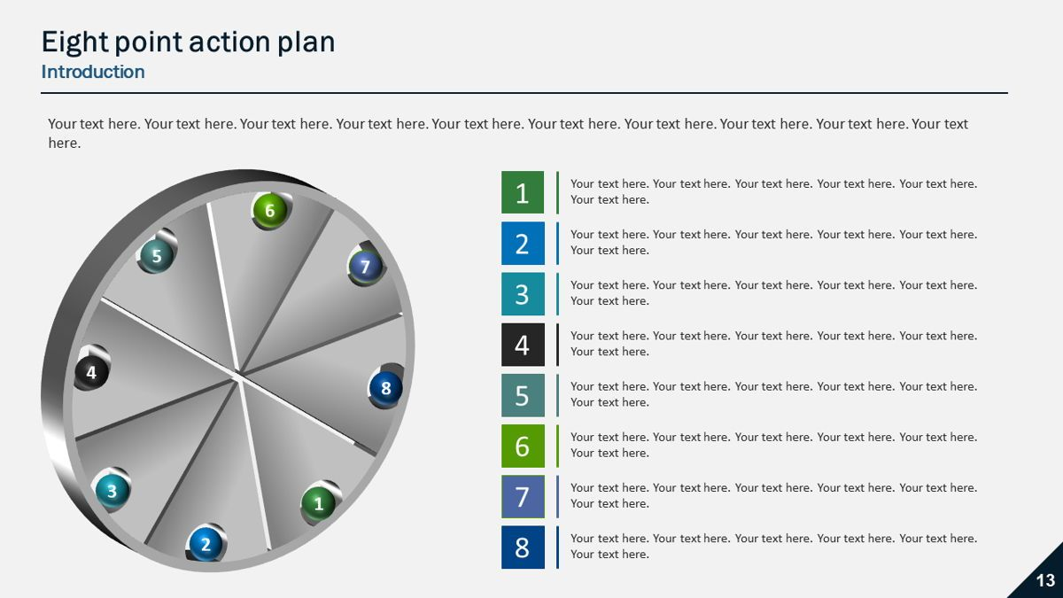 Six and Eight Point Action Plans, Slide 3, 05902, Presentation Templates — PoweredTemplate.com