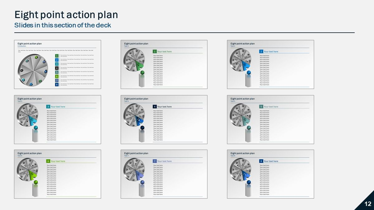 Six and Eight Point Action Plans, Slide 6, 05902, Presentation Templates — PoweredTemplate.com