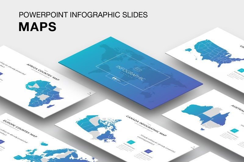 Map Infographic Powerpoint Template, 05905, Presentation Templates — PoweredTemplate.com