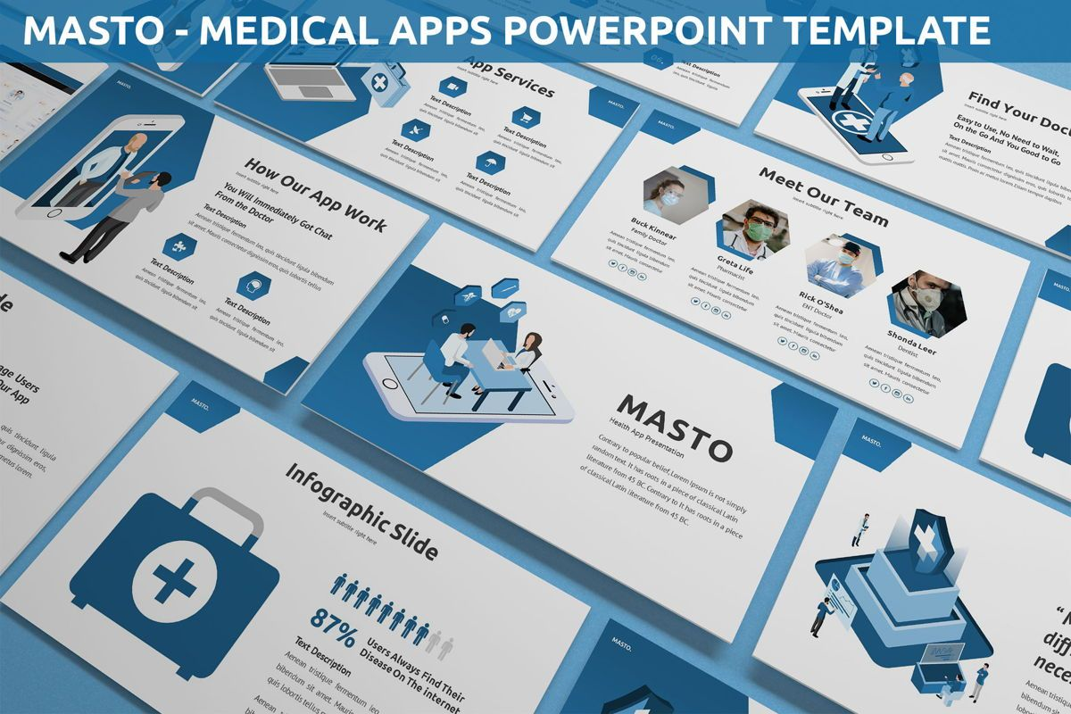 Masto - Medical Apps Powerpoint Template, 05906, Data Driven Diagrams and Charts — PoweredTemplate.com