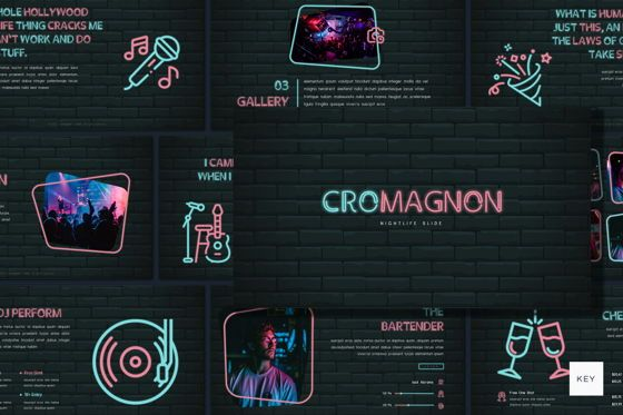 Presentation Templates: Cromagnon - Creative Neon Keynote Template #05909
