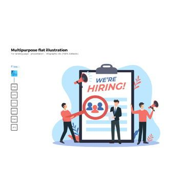 Infographics: Multipurpose modern flat illustration design hiring team #05947