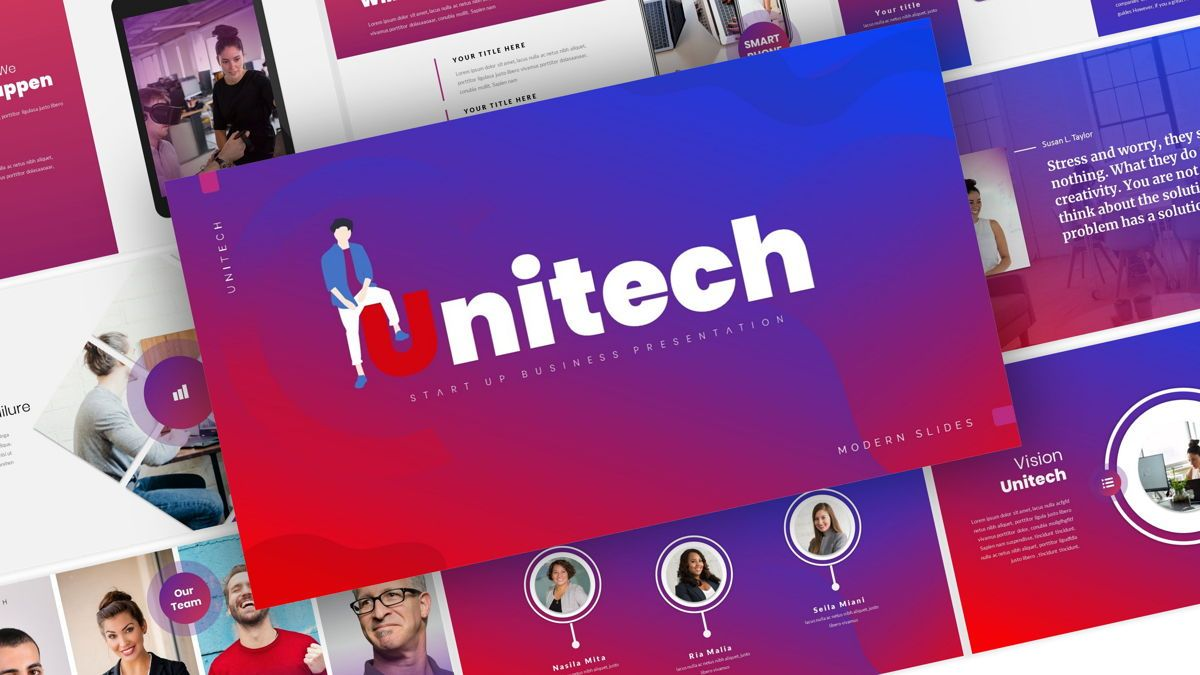 Unitech - Creative Business Powerpoint Template, 05948, Business Models — PoweredTemplate.com