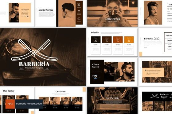 Presentation Templates: Barberia - Powerpoint Template #05956