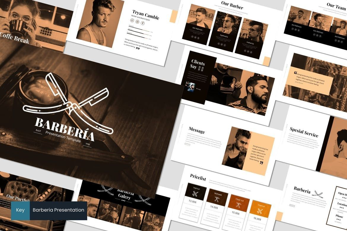 Barberia - Keynote Template, 05958, Presentation Templates — PoweredTemplate.com