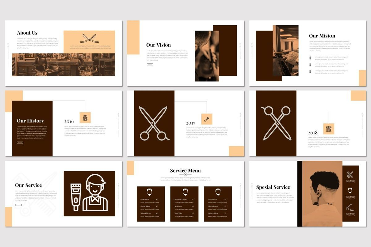 Barberia - Keynote Template, Slide 3, 05958, Presentation Templates — PoweredTemplate.com