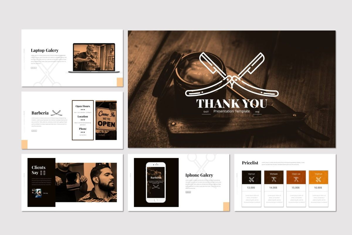 Barberia - Keynote Template, Slide 5, 05958, Presentation Templates — PoweredTemplate.com