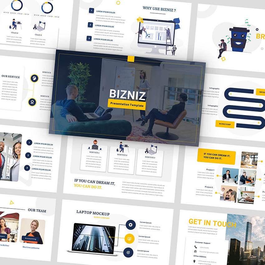 Bizniz - Business Google Slides Template, 05967, Presentation Templates — PoweredTemplate.com