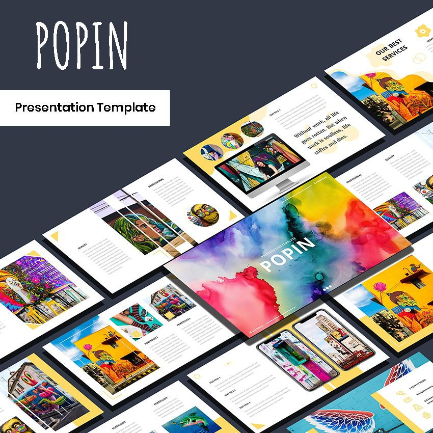 Popin - Creative Google Slide Template, 05972, Presentation Templates — PoweredTemplate.com