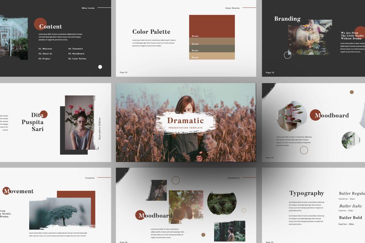 Dramatic Brand Google Slide, 05997, Presentation Templates — PoweredTemplate.com