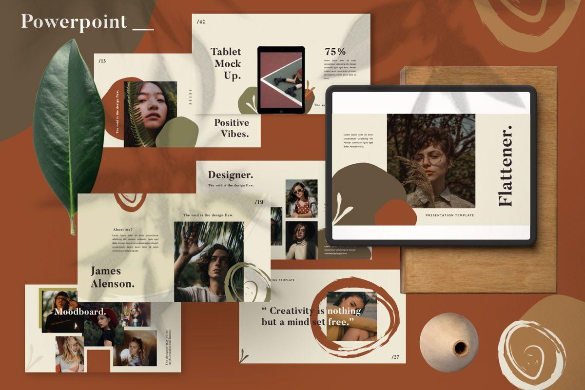 Flattener Creative Powerpoint, 06005, Presentation Templates — PoweredTemplate.com