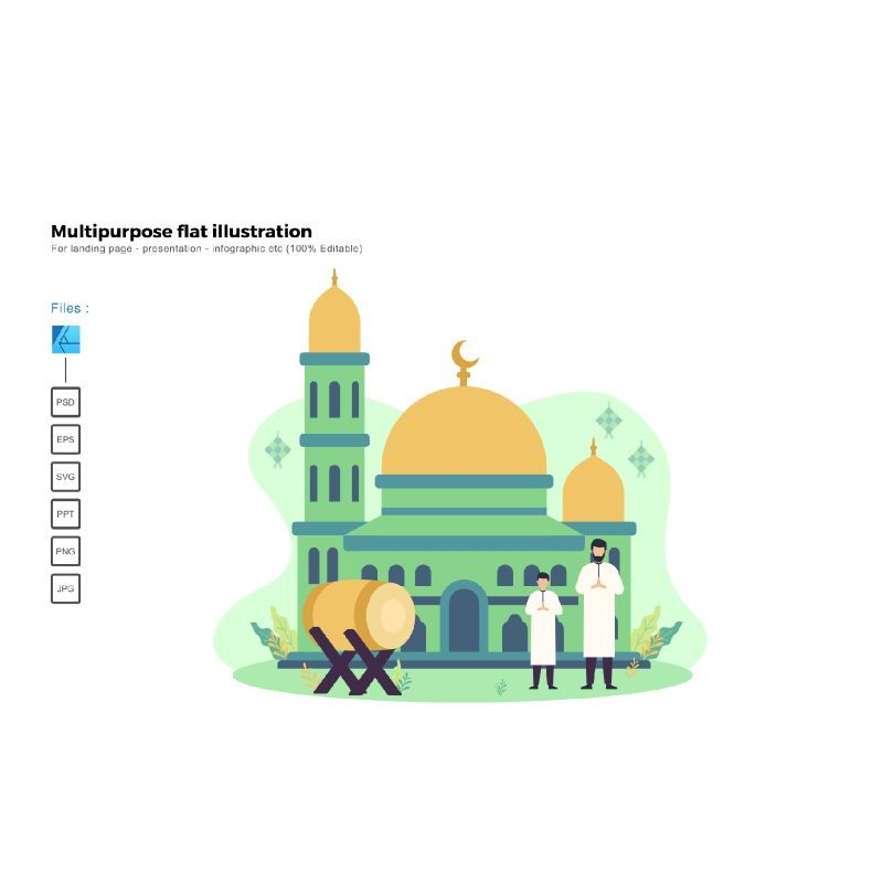 Flat illustration happy ied mubarak 2020, 06014, Infographics — PoweredTemplate.com