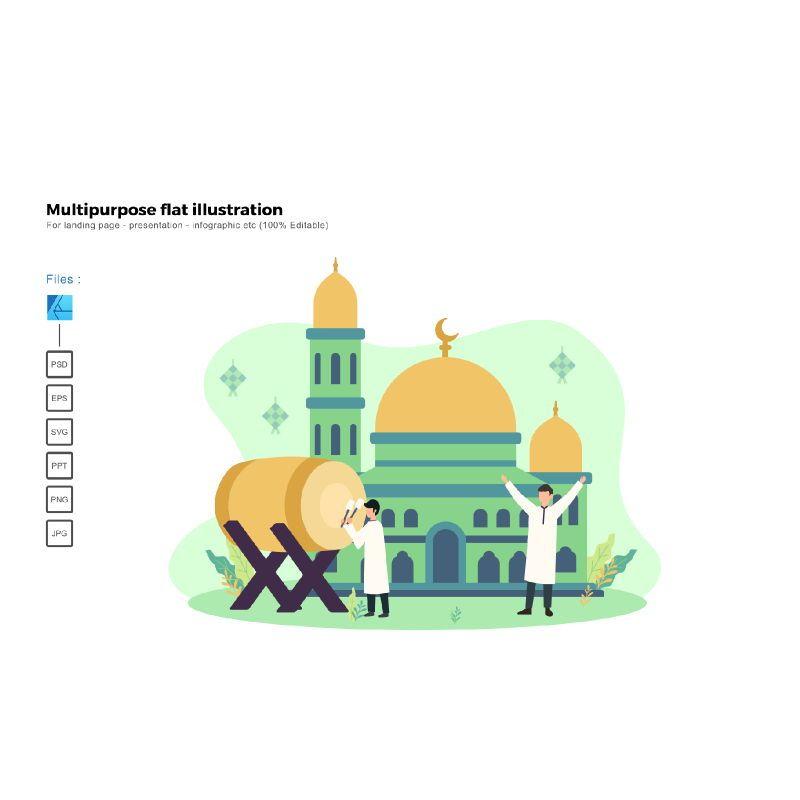 Flat illustration ied mubarak 2020, 06015, Infographics — PoweredTemplate.com