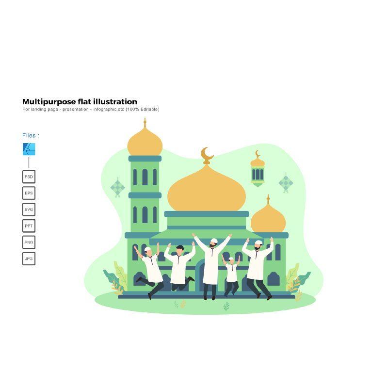 Flat illustration ied mubarak 1441H, 06016, Infographics — PoweredTemplate.com