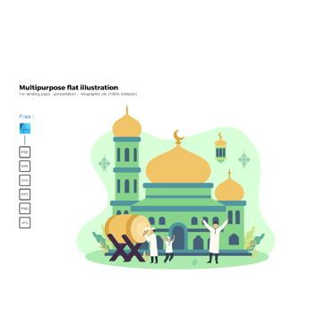 Infographics: Flat illustration happy ied mubarak 2020 1441H #06017