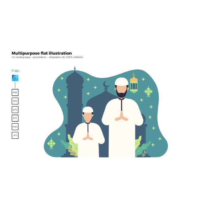Flat illustration ied mubarak, 06018, Infographics — PoweredTemplate.com