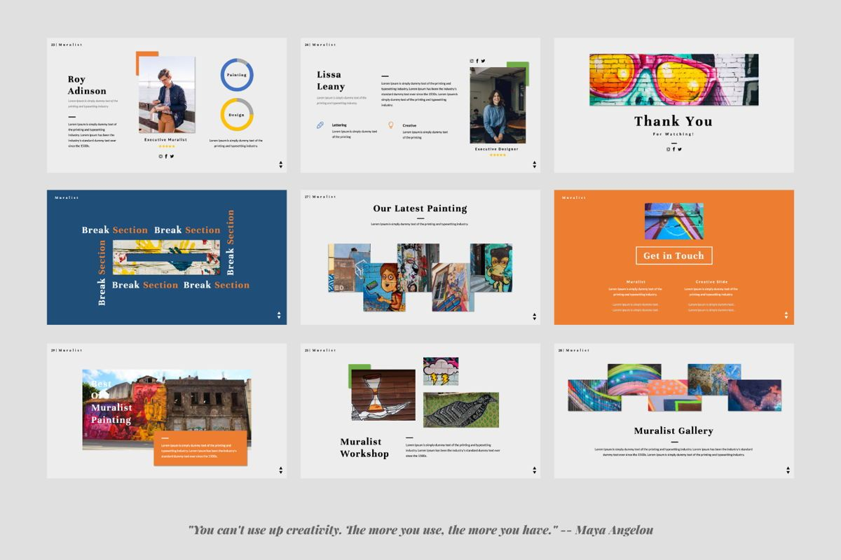 Muralist Creative Google Slide, Slide 4, 06021, Presentation Templates — PoweredTemplate.com