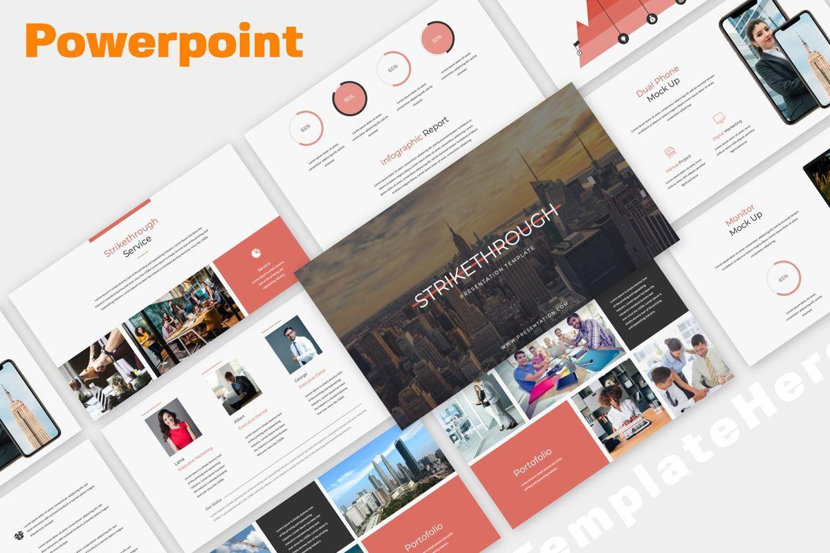 Strikethrough Business Powerpoint, 06043, Presentation Templates — PoweredTemplate.com