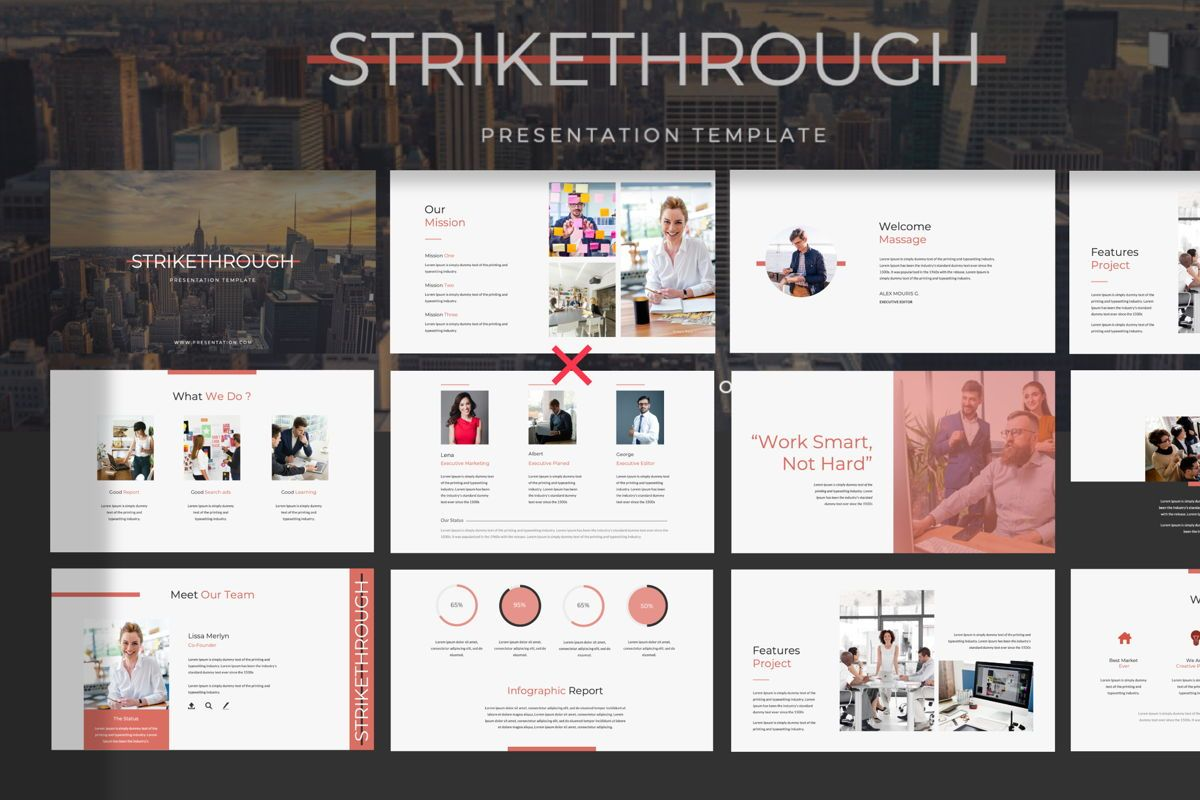 Strikethrough Business Google Slide, 06044, Presentation Templates — PoweredTemplate.com