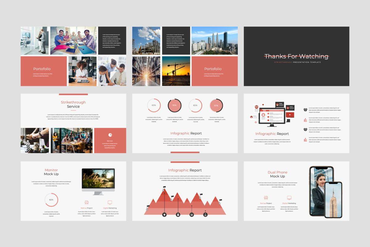 Strikethrough Business Google Slide, Slide 4, 06044, Presentation Templates — PoweredTemplate.com