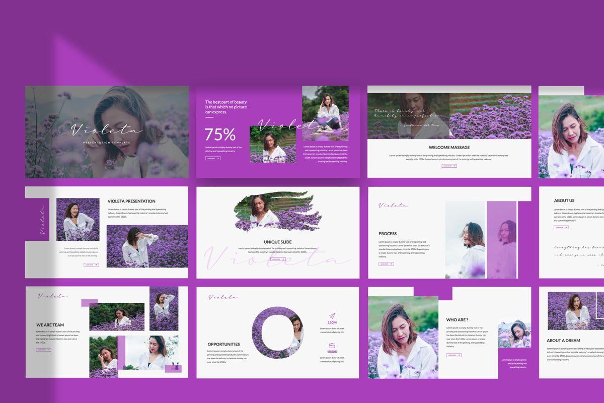 Violeta Creative Powerpoint, 06046, Presentation Templates — PoweredTemplate.com