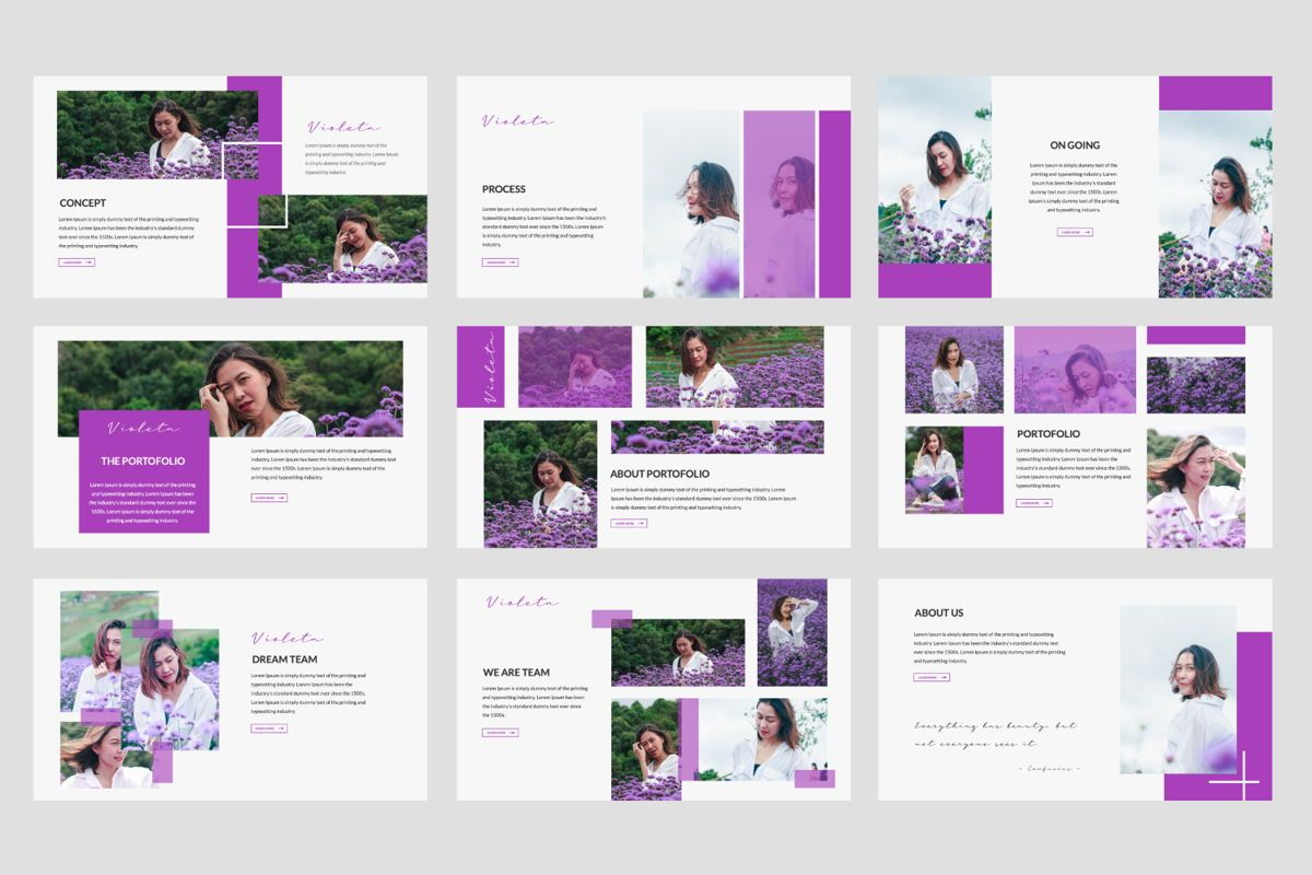Violeta Creative Google Slide, Slide 3, 06048, Presentation Templates — PoweredTemplate.com