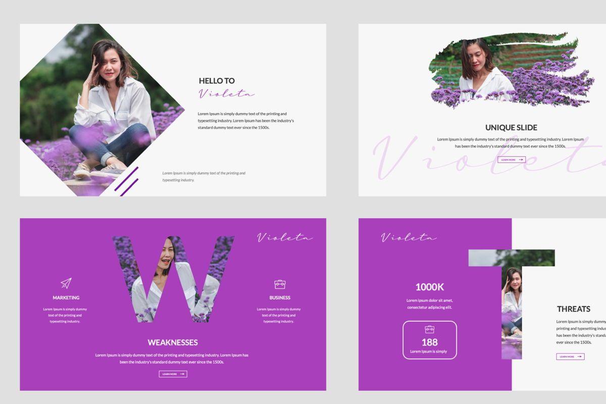 Violeta Creative Google Slide, Slide 5, 06048, Presentation Templates — PoweredTemplate.com
