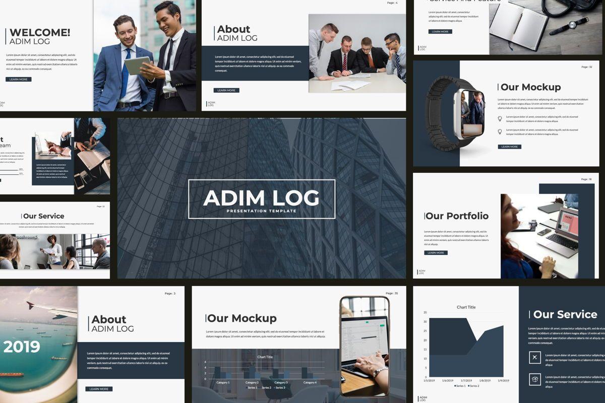 Adim Log Business Powerpoint, 06068, Presentation Templates — PoweredTemplate.com