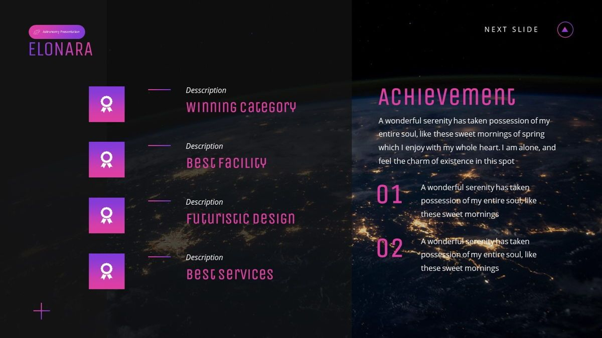 Elonara - Astronomy Powerpoint Template, Slide 13, 06080, Diagrammi e Grafici con Dati — PoweredTemplate.com