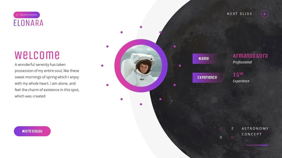 Elonara - Astronomy Powerpoint Template, Slide 3, 06080, Diagrammi e Grafici con Dati — PoweredTemplate.com