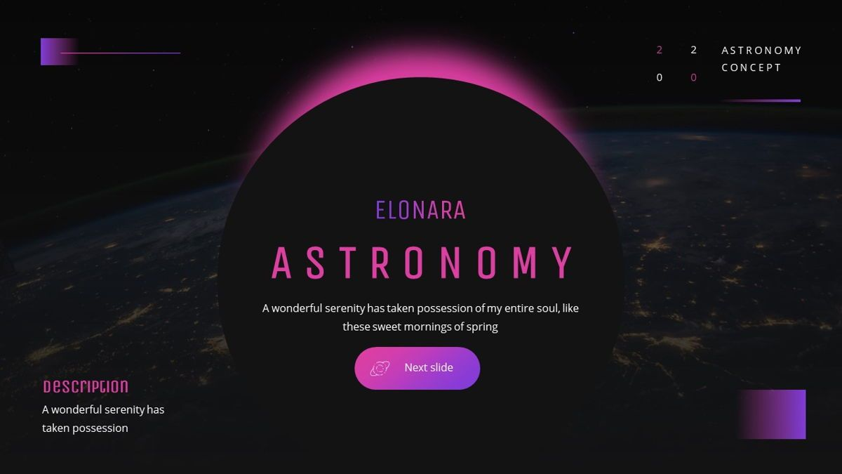 Elonara - Astronomy Powerpoint Template, Slide 5, 06080, Diagrammi e Grafici con Dati — PoweredTemplate.com