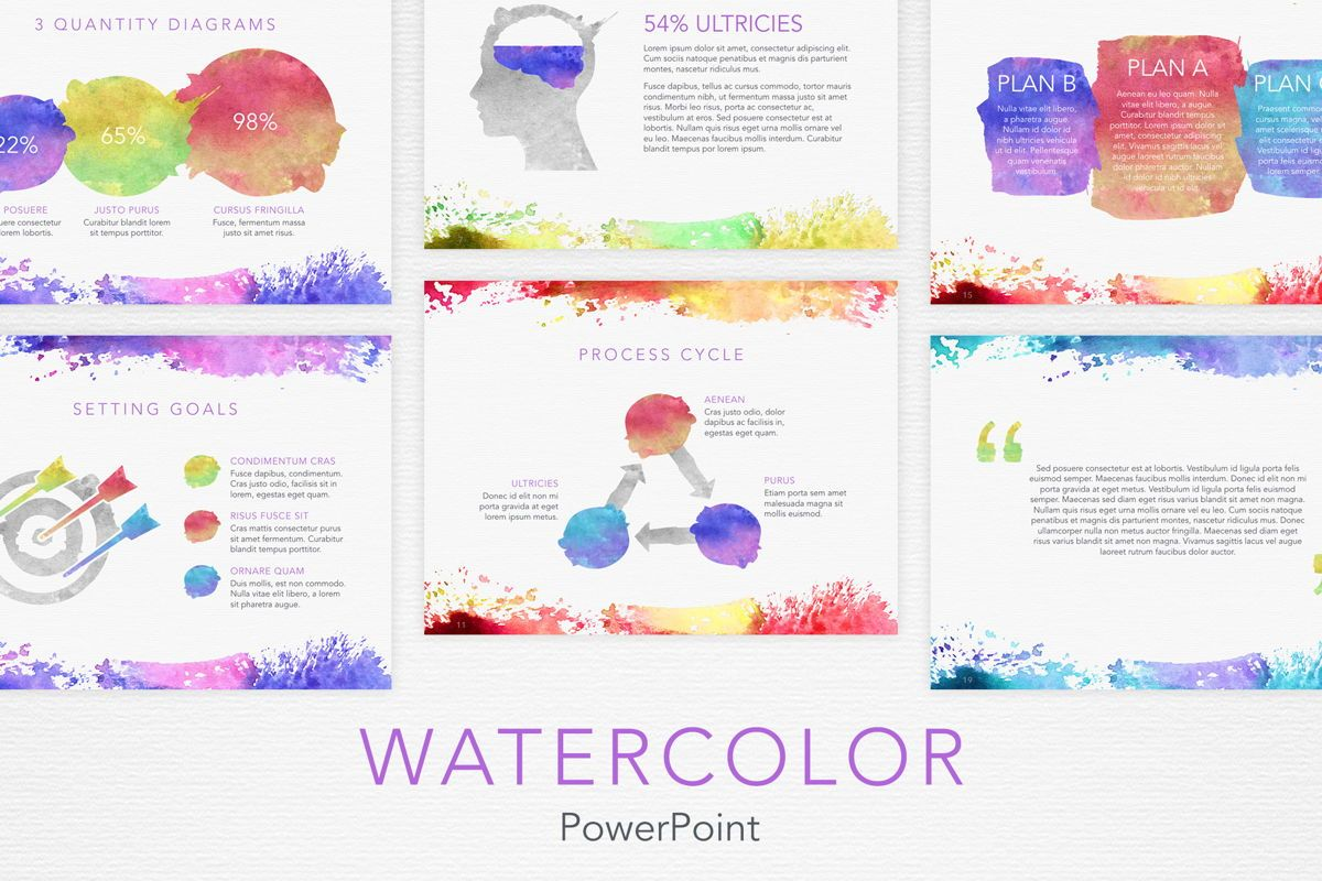 Watercolor PowerPoint Template, 06082, Presentation Templates — PoweredTemplate.com