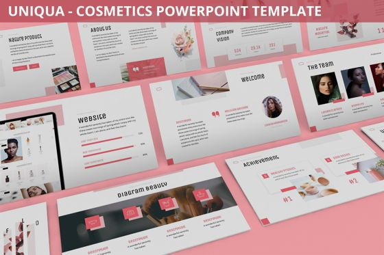Data Driven Diagrams and Charts: Uniqua - Cosmetics Powerpoint Template #06089