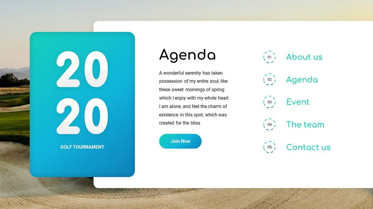 Golio - Golf Powerpoint Template, Diapositiva 4, 06090, Diagramas basados en datos — PoweredTemplate.com